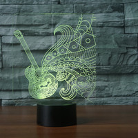 Novelty Guitar Shape 3D LED Night Light 7 Colorful Atmosphere Musical Instruments Desk Table Lamp Baby
