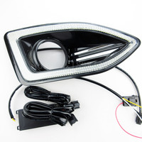 2pcs Waterproof 12V LED Car Light DRL Daytime Running Lights With Fog Lamp Hole For FORD