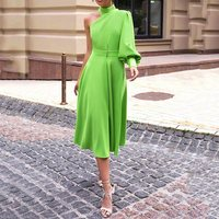 Long Lantern Lantern Sleeve Pullover Dress Women 2019 avocado Green One Shoulder Plus Size 4XL Dinner Party midi dress Female