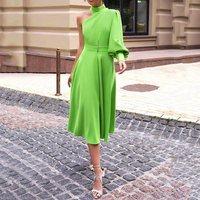 Long Lantern Lantern Sleeve Pullover Dress Women 2019 avocado Green One Shoulder Plus Size 4XL Dinner Party midi dress Female