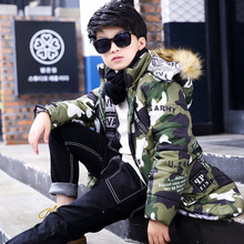 Camo Boys Winter Jacket Children Clothes Down Coat Thick Warm Fur Hooded Kids Jacket Cotton-Padded Parkas For Boys TZ02