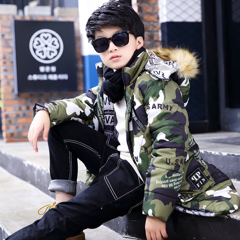 Camo Boys Winter Jacket Children Clothes Down Coat Thick Warm Fur Hooded Kids Jacket Cotton-Padded Parkas For Boys TZ02 children thicken warm winter coat kids cotton padded jacket wadded outwear thickening boys girls fur hooded parkas clothes y105