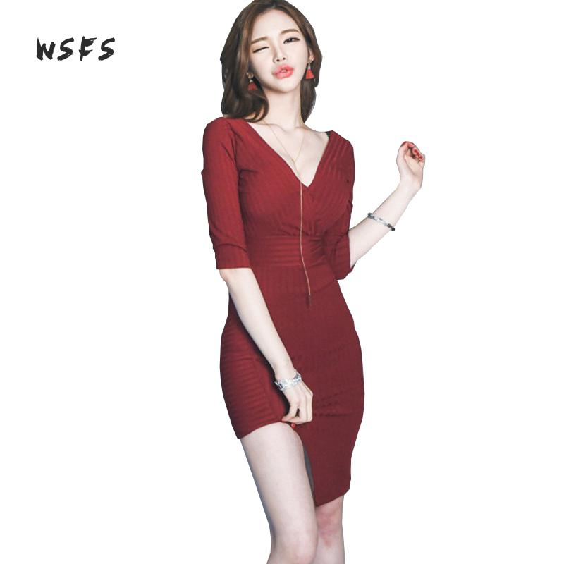 Wsfs Winter Women Sweater Dresses Red Knitted Vneck Zipper Bandage Dress Vintage Sexy Club Party Bodycon Asymmetrical Mini Dress цена