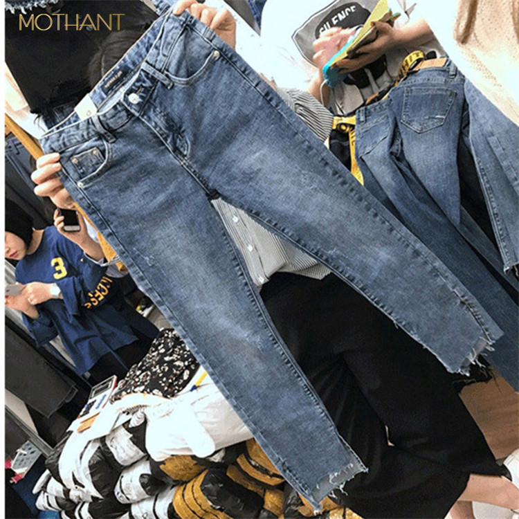 The New Korean Version Of The Large Size Jeans Female Fat Mm High Waist Elastic Thin Hole Straight Pants Nine Cent Pants
