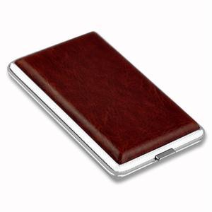 WITUSE WX Cigarette Case Brown Cigarette Box Case Holder Metal Leather Holds 12/14/18/20 Cigarettes(China)