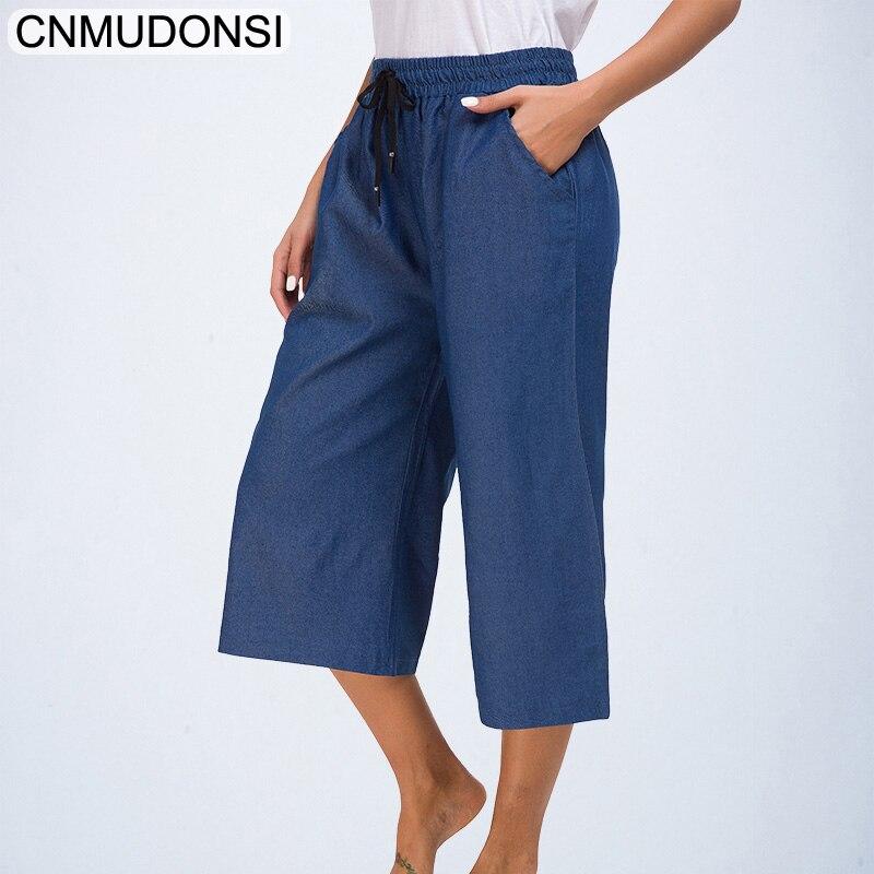 New Vintage Wide Leg   Jeans   Big Pocket Loose Washed High Waist Denim   Jeans   Ankle Pants For Women Pantalon Femme Light Dark Blue
