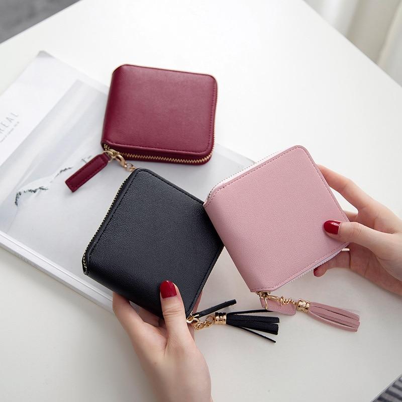 Lady Short Women Wallets Mini Money Purses Fold Leather Bags Female Zipper Coin Purse Pocket Photo Card Holder Girls Notecase
