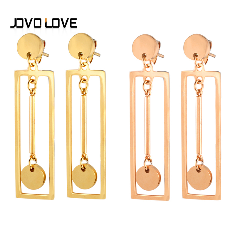 JOCO Rose Gold Drop Earrings for Women fashion female long earring 42mm length square+ Jewelry gril Anniversary gift