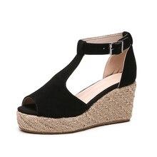 цены Summer Women Platform Shoes Wedge Heels Sandals Fashion High Heels Female Elegant Peeps Comfortable Platform Sandals Big Size