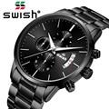SWISH, 2019, мужские водонепроницаемые часы из нержавеющей стали, модные спортивные кварцевые часы, мужские часы, Лидирующий бренд, роскошные му...