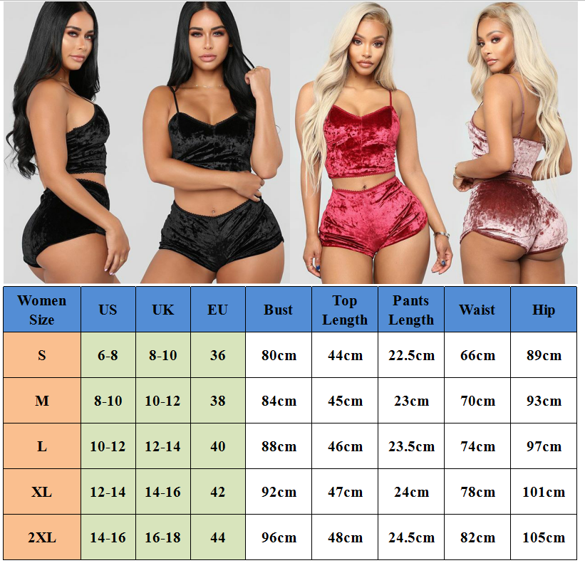 US Fashion Women 2pcs Velvet Sleepwear Sexy Spaghetti Strap Velvet Shorts Pajama Set Ladies Sleepwear female Pajama Party Set - sleepwear