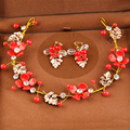 Romantic Red Flower Headbands Hairpins Gold Plated Clear Crystal Headband Leaves Girls Hair Accessories for Women Party SG474