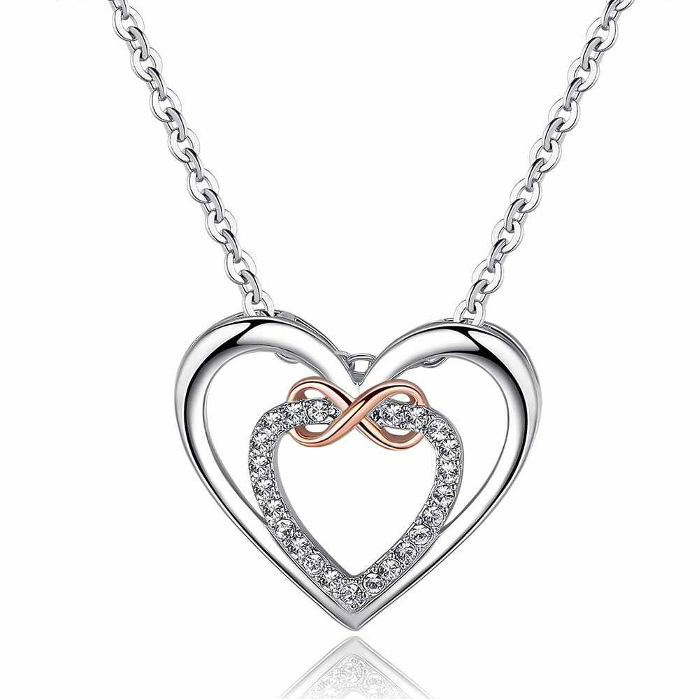 2018 New Infinity CZ Heart Necklace for Women Rose Gold and Rhodium Plated AAAA Cubic Zirconia Wedding Jewelry