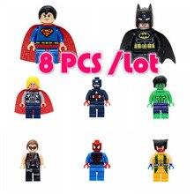 Pcs um Conjunto de Super-heróis Mulher Maravilha 8 Guardians Of the Galaxy Batman X homem flash DC Marvel Avengers Edifício blocos Brinquedos Figuras