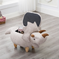 A,Dinosaur Shape Creative Wooden Footstool Sturdy Storage Shoe Bench Sofa with Bronzing Fabric Wooden Legs Multicolor 1