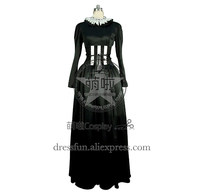 Victorian Lolita Edwardian Regency Steampunk Gothic Lolita Dress With White Collar Decorated And Charming Ruffles Cool For Party