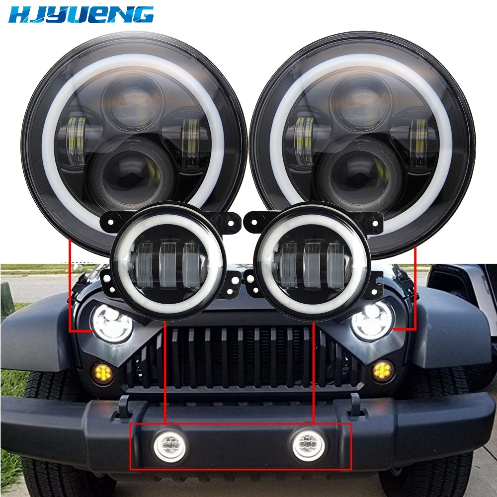 45w 7 LED headlights white halo with Amber turn signal headlamp +4 LED fog light passing lamp with halo ring ForJeep wrangler