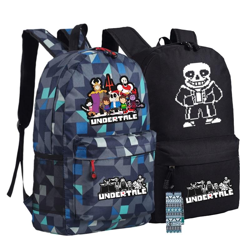 Undertale Sans Skeleton Backpack Bag Game Schoolbag Travel Students Bag Cospaly Gift Camouflage Mochila