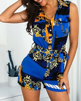 2019 Women Mixed Print Turn Down Collar Playsuits Ladies Sexy Sleeveless Tied Waist Romper Summer Casual Short Jumpsuits 1