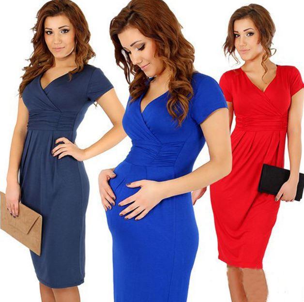 Bekväma moderskapsklänning V-hals gravid klänning S M L XL Damkläder Gravida Bomull Vestidos Plus Storlek Sjuksköterskor