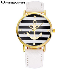 Vansvar Brand Fashion Leather Strap Anchor Watch Casual Women Wristwatches Luxury Quartz Watch Relogio Feminino Drop Shipping