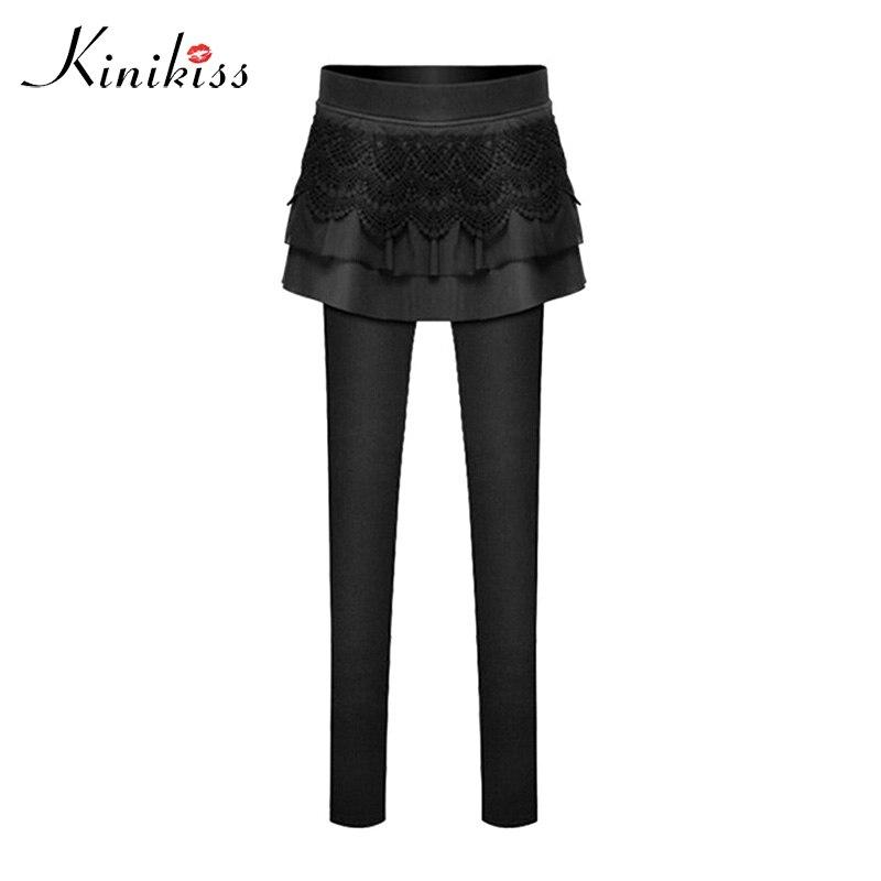 Kinikiss Black Two-piece Legging with mini Pant skirt Women's Fashion lace leather Leggings Slim Fit warm winter leggings 11.11 artificial leather splicing lace bandage leggings black