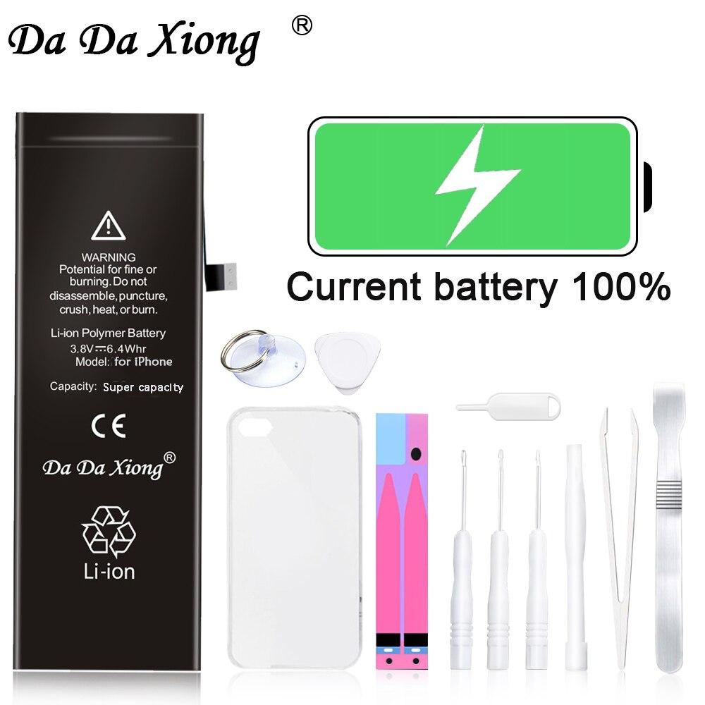 Bateria original do telefone da da xiong para o iphone 6g 6 s mais capacidade máxima baterias de substituição bateria polímero lítio livre ferramentas