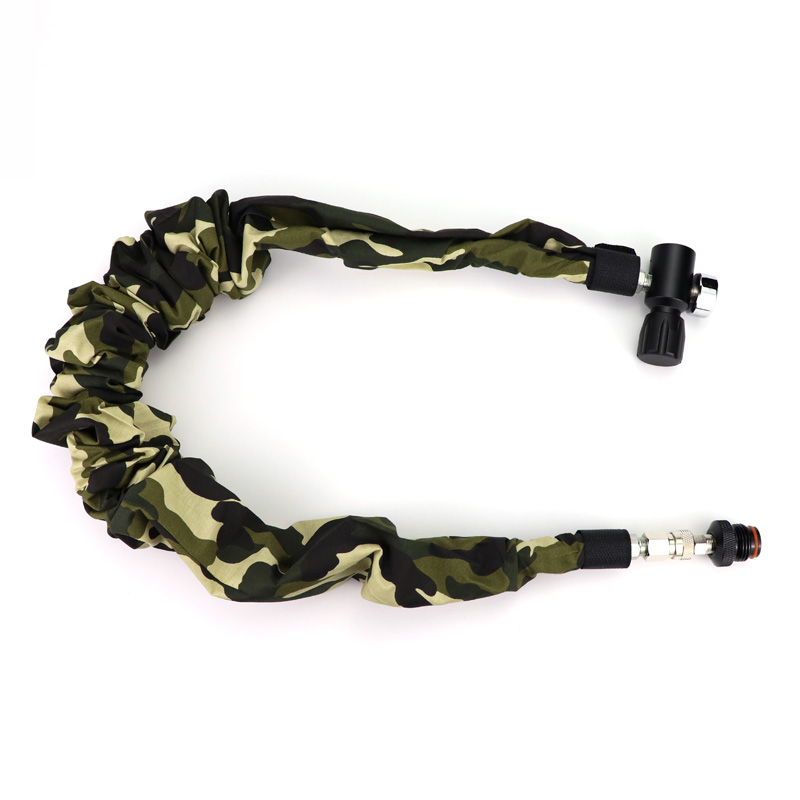 New Paintball Air Gun Airsoft PCP Air Rifle Coil Remote Hose (2.5M) With Quick Disconnect 1500PSI Gauge And Camo Cover