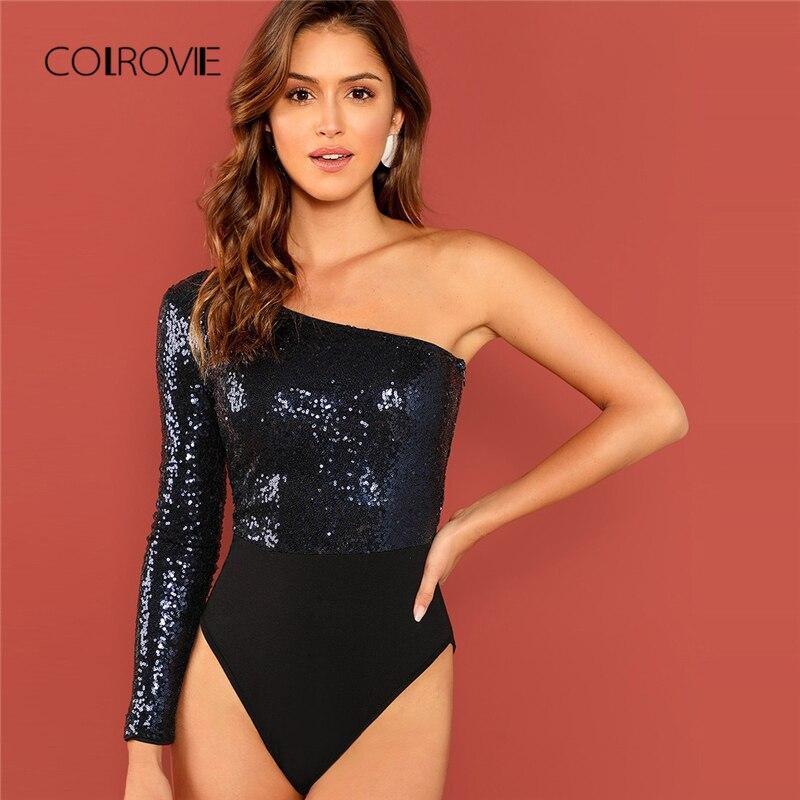 COLROVIE Black Solid One Shoulder Elegant Skinny Sequin Bodysuit Women 2018  Autumn Long Sleeve Office Streetwear fb2b1b3ea