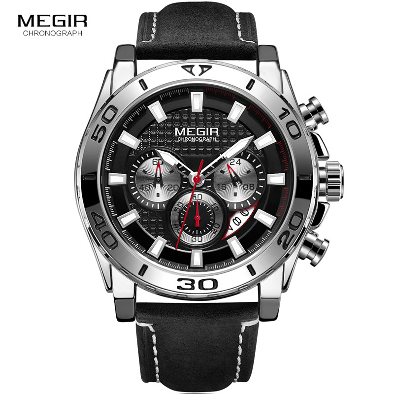 Image 2 - MEGIR Mens Army Sports Chronograph Quartz Watches Leather Strap Luminous Waterproof Wristwatch Man Relogios Clock 2094 SilverQuartz Watches   -