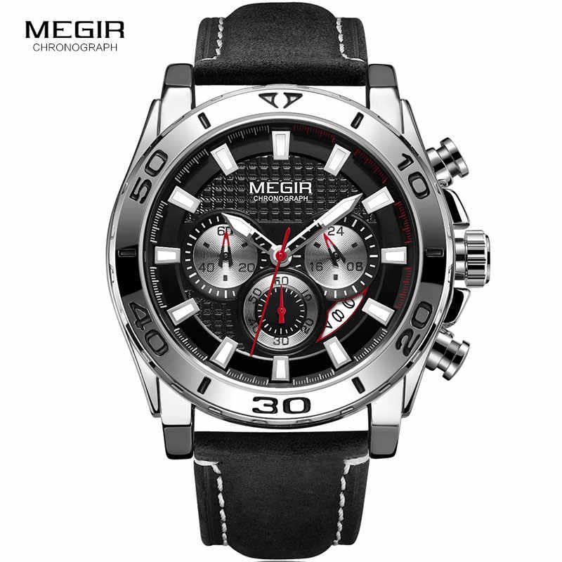 MEGIR hommes armée sport chronographe Quartz montres bracelet en cuir lumineux étanche montre-bracelet homme Relogios horloge 2094 argent
