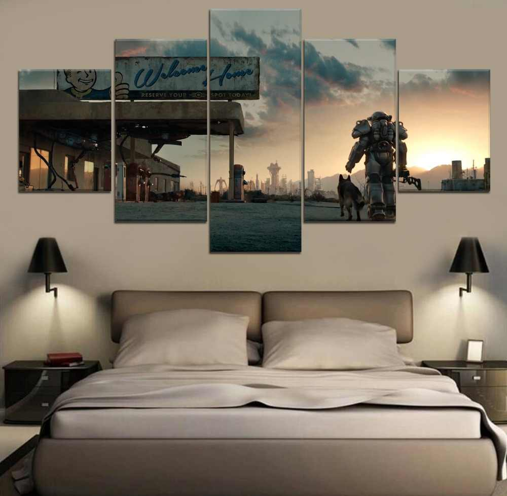 Fallout 4 Game HD Print Painting Modern Canvas Wall Art Canvas Wall Art Painting 5 Piece Canvas For Living Room Artwork