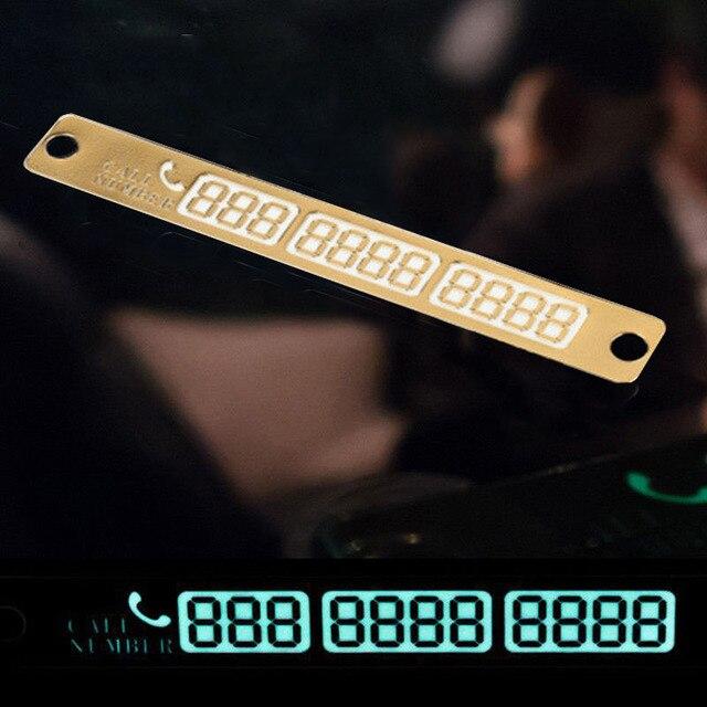 2019 새로운 15x2cm 자동차 전화 번호 카드 스티커 밤 빛나는 임시 주차 카드 플레이트 빨판 전화 번호 카드