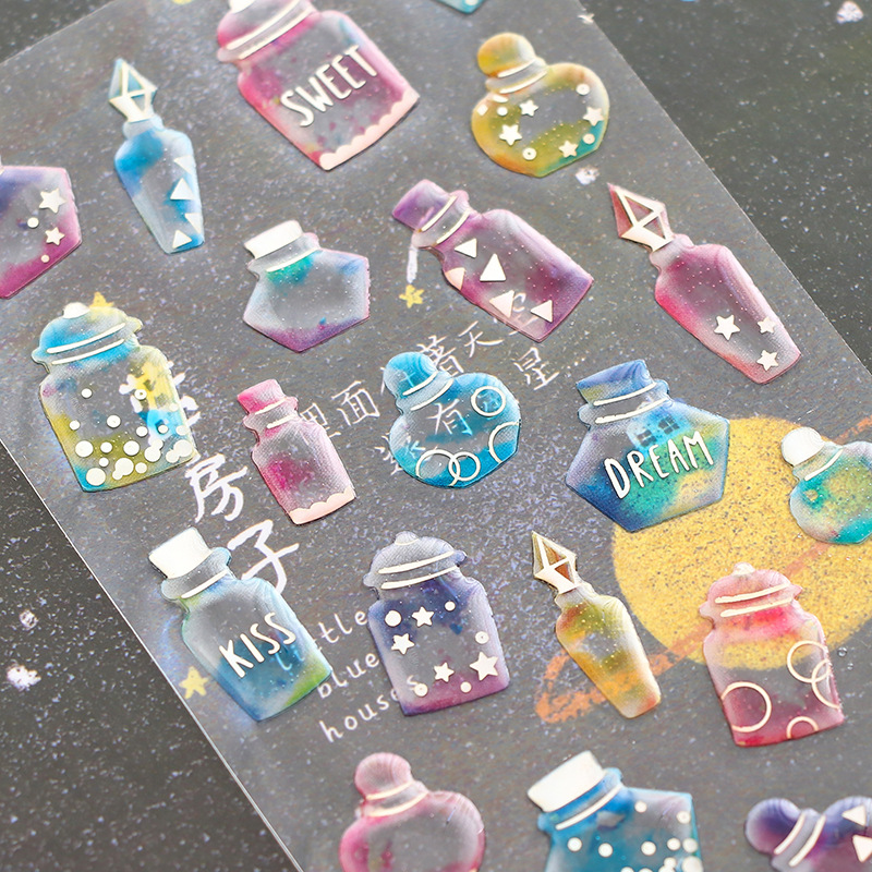 Cute Ice Cream Crystal Sticker Kawaii PVC Flower Stickers Diamond Cat Label Stickers For Scrapbook Decoration Photo Album Diary