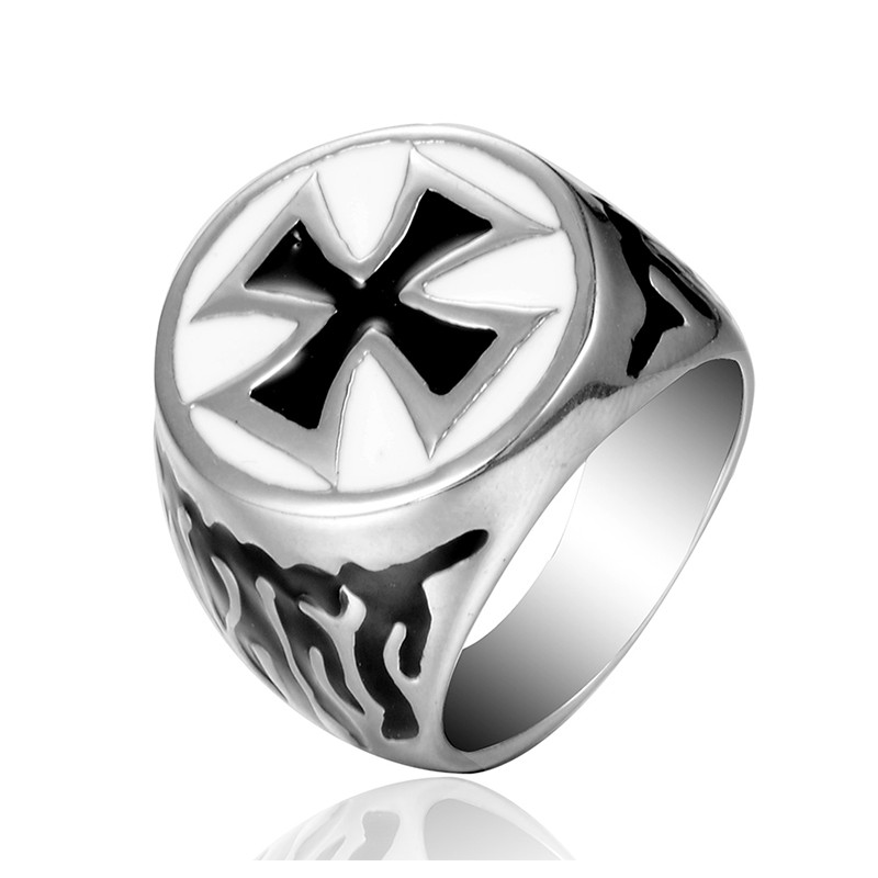 Fate Love Men Ring Vintage Cross Jewelry Punk Stainless Steel Finger Rings Fashion Party Ring Anillos Mens Jewellery VR099