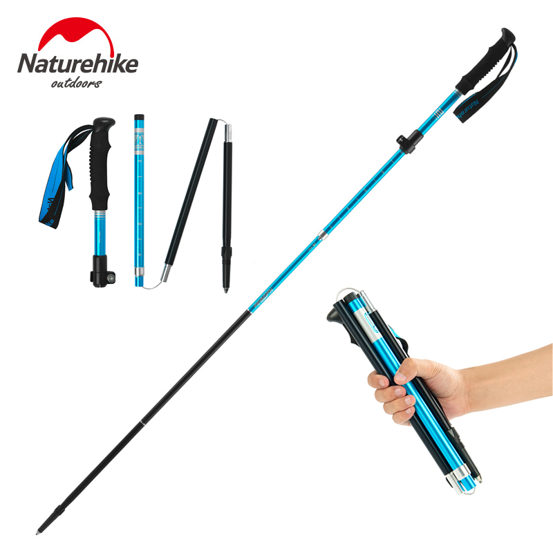 Naturehike Walking Sticks Ultralight Folding Aluminum Trekking Poles Foldable Trail Running Poles Collapsible Hiking Sticks