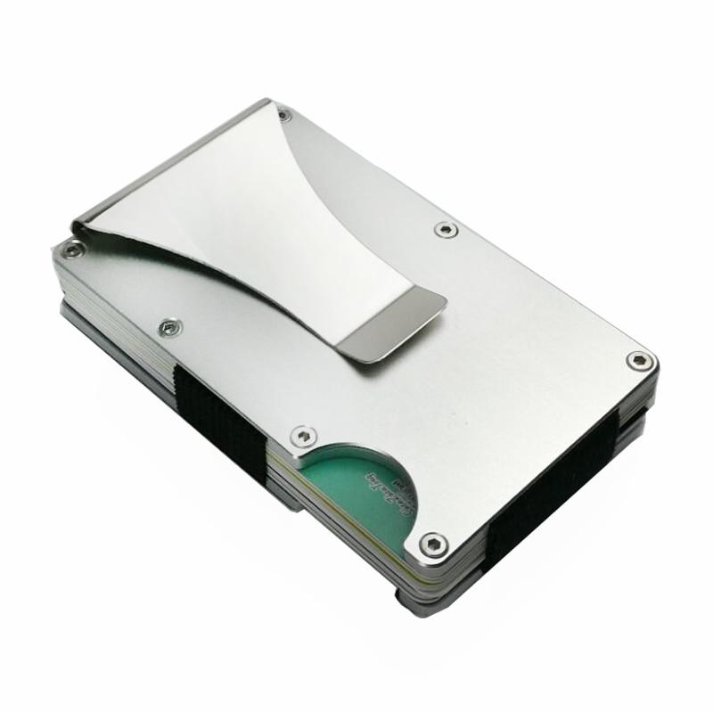 Kohlefaser Metall Kreditkarteninhaber Rfid Wallet Blockieren Tragbare ID Karte Fall Männer Aluminium Clip Tasche Porte