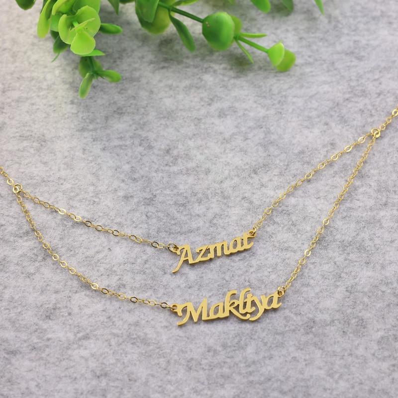 Collier plaque signalétique doré personnalisé deux couches collier pendentifs Couple personnalisé collier argent massif BFF cadeau saint valentin