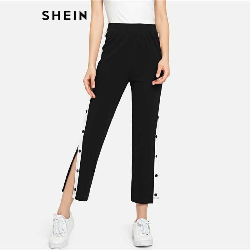 Shein Color Negro Pantalones A Los Lados Con Botones A Presion De Contraste Pantalones Cortos De Cintura Alta Informales Para Mujer Pantalones De Ocio Elasticos De Otono Pantalones Y Pantalones Capri Aliexpress