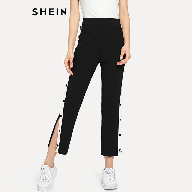 SHEIN Black Colorblock Contrast Snap Button Side Pants Casual High Waist Crop Trousers Women Autumn Stretchy Athleisure Pants