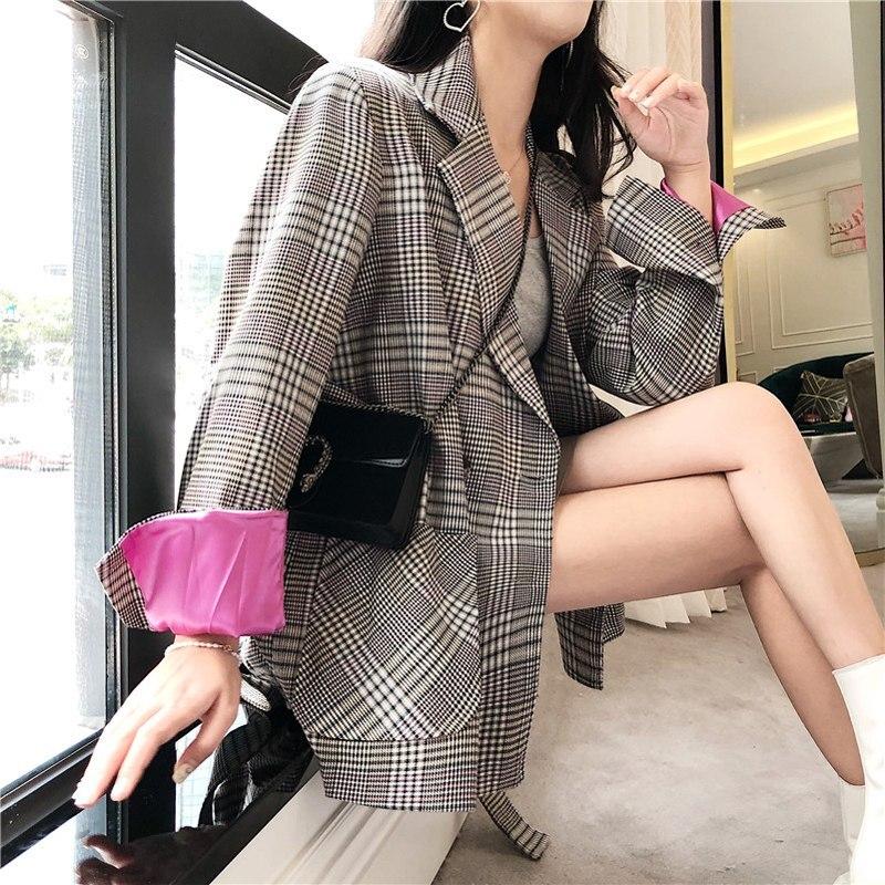 BGTEEVER Vintage Bandage Women Plaid Blazer Loose Notched Pockets Retro Female Suit Outwear 2018 Autumn Women Jacket