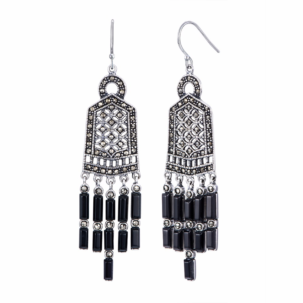 цена на Vintage Natural Agate Hollow Filigree Vintage Tassel Earrings For Women Girls 925 Authenic Silver Earrings Wholesale NEW Arrival