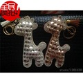 bling women bag charms, silver stones bling giraffe keychains glitter wallet purse charms handmade charms for bag + key chain