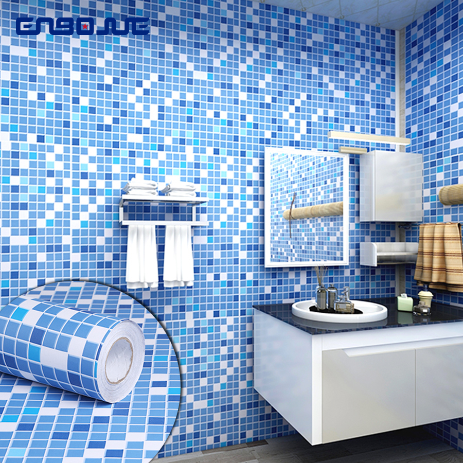 PVC Waterproof Self Adhesive Wallpaper Kitchen Oil-proof Bathroom Toilet Wall Sticker Blue Mosaic Imitation Tile Pattern Sticker