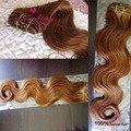 Clipe onda do corpo em extensões do cabelo humano 7 pçs/set 100g 8A não transformados cabelo humano onda do corpo loira grampo de cabelo humano em extensões