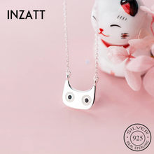 INZATT Real 925 Sterling Silver Minimalist Cat Pendant Necklace For Fashion Women Fine Jewelry Cute Accessories 2019(China)
