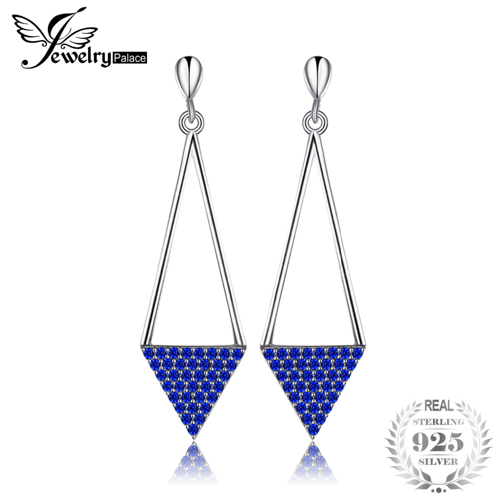 JewelryPalace Triangle 0.30 ct Created Blue Spinel Drop Earrings 925 Sterling Silver Fine Jewelry Trendy Earrings For Women triangle round drop earrings