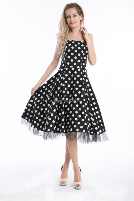 Vestido negro a lunares blancos