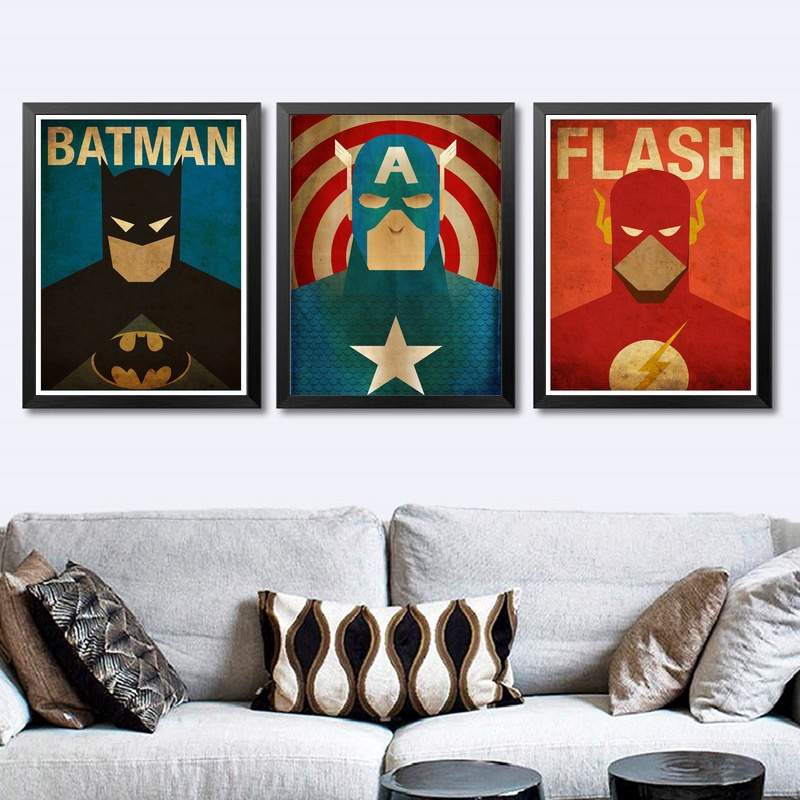 Comics Marvel Avengers Super Heroes Movie Poster Art Canvas Print Children Room Decor