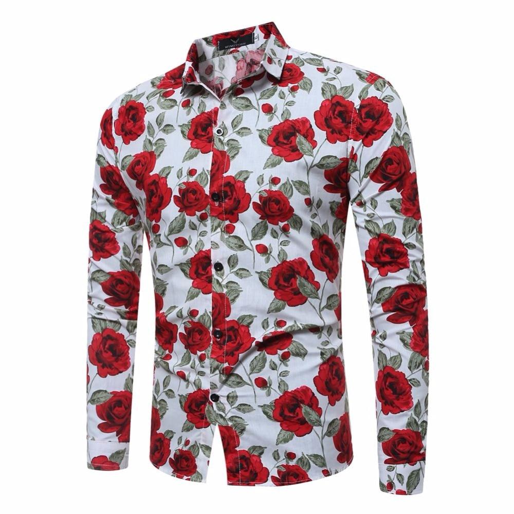 2017 Pranvera këmishë lulesh e modës për burra, mëngë të - Veshje për meshkuj - Foto 2